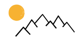 Stadt Land Camp Logo Schmuckelement Berge mit Sonne