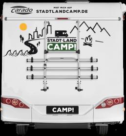 Stadt Land Camp Wohnmobil Beklebung Heck