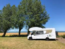Wohnmobil Stellplatz mit Aussicht auf Fyn in Dänemark