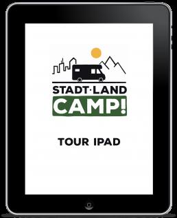 Tour iPad freigestellt mit Stadt Land Camp Logo