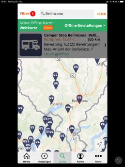 Stellplätze finden - Die Suche nach Orten und die Umgebungssuche zeigen die markierten Stellplätze auf einer übersichtlichen Karte