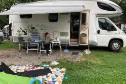 Unser Stellplatz am Bodensee - groß genug, um auch einen Spielpacours aufzubauen